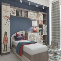 Кровать КР-19 для детской Лондон с ящиками (собранная)